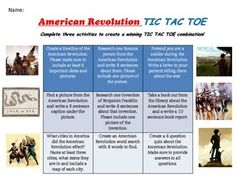 FREE 5-9 Great for AMERICAN REVOLUTION project. Students pick three activities to complete that create TIC TAC TOE. Great for portfolio work!