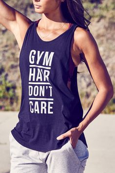 Gym hair don't care. This graphic tank is free and easy with a generous, more relaxed fit. Incredibly soft with dropped armholes and double strap detail you'll love.