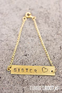 """sister love"" heart hand-stamped bracelet! Perfect for you and your sister, and little or big gifts!"