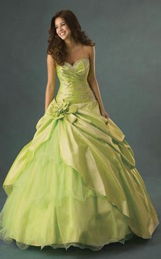 lime green sweetheart ball gown wedding party dress with caught-up