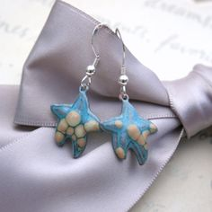Enameled Star fish earrings  Sea Star earrings by Maravillosa Jewelry on Etsy.
