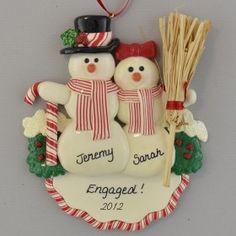 Engaged Snow Couple Christmas Ornament