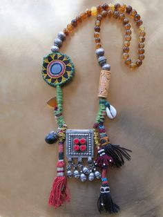 Tribal art necklace with Yemeni centerpiece and par EthnicTree