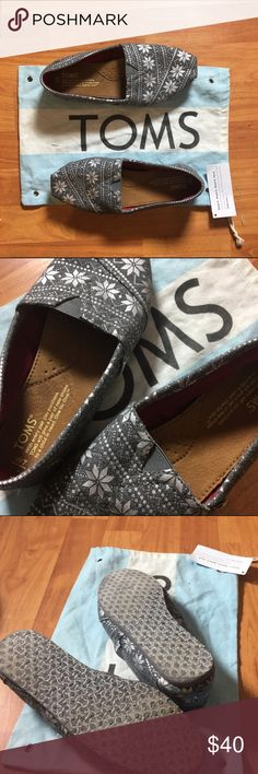 "TOMS Limited Edition Grey & Silver Winter Pattern Worn twice. No rips or holes, like new. Silver winter snow flake pattern. Red corduroy on the inside. Thicker type of toms then the regular. One of the first ""winter prints"". Fit true to size. A little tight cause of thicker material but I'm sure will stretch with more wear. Toms bag with tag included. Woman's Size 7. TOMS Shoes Flats & Loafers"