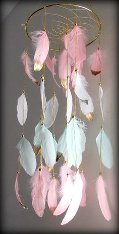Blush Pink and Mint Baby Mobile Dream catcher Mobile Boho