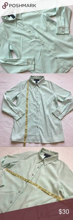 Denim &I Co. Snap Front long sleeve mint green M Denim & Co. Medium mint green shirt, new with QVC tag, extra large size snap buttons, long sleeve Denim & Co. Tops Button Down Shirts