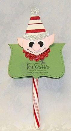 Punch Art Elf Candy Cane Holder Stampin' Up! Jeannine Tarrio Demonstrator