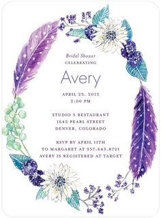 Radiant Wreath - Signature White Textured Bridal Shower Invitations - Lana Frankel - Periwinkle - Green : Front