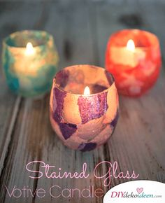 Stained Glass Votive Candle Holders - an easy to make craft using glass candle holders, tissue paper and modpodge that makes a fun holiday gift. Glass Votive Candle Holders, Votive Candles, Candleholders, School Holiday Baking, Easy Gifts To Make, Christmas On A Budget, Christmas Holidays, Christmas Presents, Cute Candles