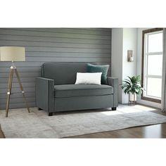 DHP Signature Sleep Casey Grey Velvet Twin Sleeper Sofa (Twin sofa sleeper, grey) (Fabric)