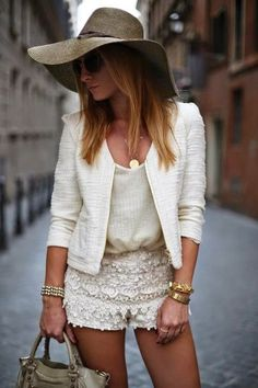 Street Style Chic - lace shorts. cream and ivory