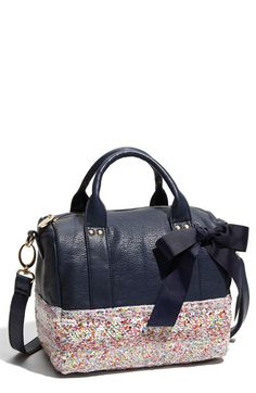 Deux Lux 'Ditsy - Small' Faux Leather Duffel Bag in navy at Nordstrom $121 This bag is sooo fun!