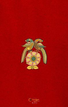South Indian Kalamkari inspired wedding card back Wedding Card Design Indian, Indian Wedding Cards, Indian Wedding Invitation Cards, Wedding Invitation Background, Wedding Symbols, Indian Arts And Crafts, Whatsapp Wallpaper, Indian Folk Art, Indian Prints