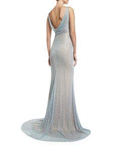 Image result for Naeem Khan Sleeveless Beaded Cowl-Back Gown