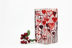 First Sight Love Hand Painted Glass Vase  by SylwiaGlassArt, $70.00