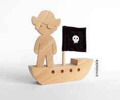 Wooden toy Pirate ship gift for boy by mielasiela on Etsy