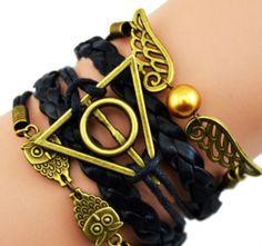 Pulseira/ Bracelete Símbolos de Harry Potter - Preta