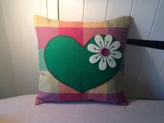 Cushion, Checked cushion with Heart and Flower design :) on Etsy, £17.00