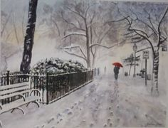 Fairytale in New York Snow - Art Discovered Online New York Snow, Nyc Snow, Snow Art, Red Umbrella, Watercolour Paintings, Watercolors, Fairy Tales, Art Gallery