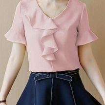 V-Neck Flounce Plain Bell Sleeve Blouse Blouse Styles, Blouse Designs, Skirt Fashion, Fashion Outfits, Fashion Blouses, Stylish Blouse Design, Vetement Fashion, Blouse Models, Bell Sleeve Blouse