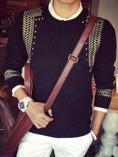 Trendy col rond chevrons brodé à manches longues Minceur Polyester Pull Pour Hommes