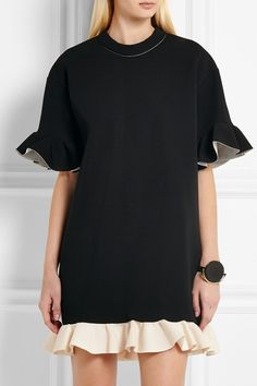 Marni | Ruffled scuba-jersey mini dress | NET-A-PORTER.COM