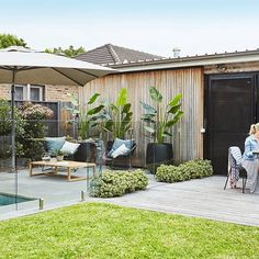 This landscape design on Sydney's Northern Beaches was designed to suit our clients' love of entertaining and hands-on gardening. Tropical Backyard Landscaping, Swimming Pools Backyard, Modern Landscaping, Outdoor Landscaping, Tropical Garden, Outdoor Pots, Outdoor Areas, Outdoor Living, Small Pool Houses