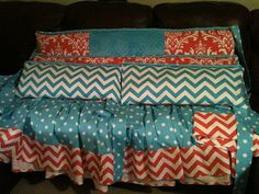 ZIGZAG Turquoise & CORAL Damask Bedding and by MamaShowedMeHow, $325.00