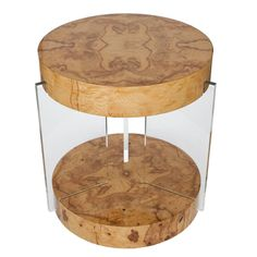 View this item and discover similar for sale at - Stunning and rare burl table attributed to Vladimir Kagan. A compelling combination of burled maple and Lucite come together in a Classic form to create End Tables, A Table, Antique Furniture, Modern Furniture, Display Pedestal, Fashion Art, The Originals, Antiques, Desks