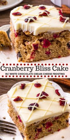 holiday desserts This Cranberry Christmas Cake is the perfect holiday dessert. Its extra moist and super flavorful thanks to brown sugar, cinnamon, a hint of orange zest, and fresh cranberries. Topped with white chocolate cream cheese frosting. Cranberry Bliss Bars, Cranberry Dessert, Cranberry Recipes, Christmas Cranberry Cake, Christmas Chocolate, Köstliche Desserts, Delicious Desserts, Dessert Recipes, Cake Recipes Uk
