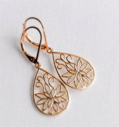 Lotus flower earrings, gold dangle earrings
