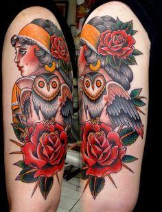 gypsy holding an owl
