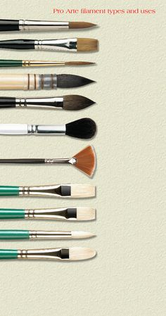 Pro Arte brushes in a huge range of shapes/sizes including Riggers, Sword liners, Midas Touch retractable field brushes, Ron Ranson Hake brushes, squirrel wash brushes and many more!