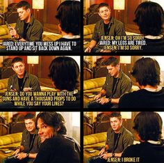 haha Gag Reel from season......well from a season hahah[; Loved this scene!!! #supernatural #funny #jared #jensen #gagreel