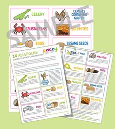 Menu labels and stickers to comply with the new food allergens regulations for childcare professionals. Childcare, New Recipes, Stickers, Activities, Organising, Menu, Food, Menu Board Design, Sticker