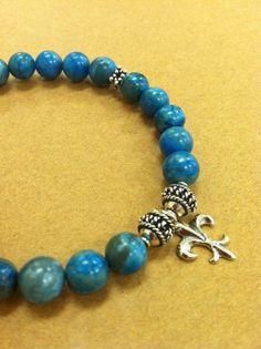 Aqua Teal Blue Lace Agate Sterling Silver Fleur De Lis by roxcraft, $47.00