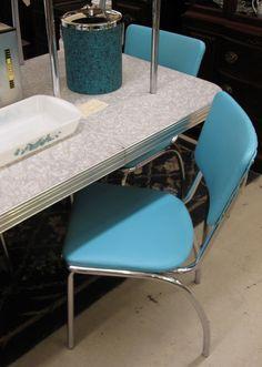 Retro Table, Dinette Sets, Vintage Kitchen, Stools, Chrome, 1950s,  Nostalgia, Souvenir, Benches