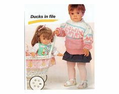 Genuine Vintage Delightful 2 Duo Babys Ducks and Elephants Motif Jumpers Knitting Pattern PDF see pics