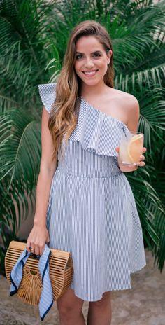 Stripe one shoulder dress