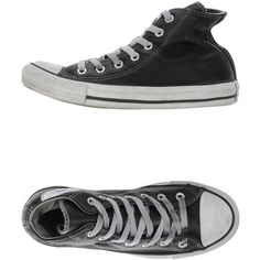 Converse Limited Edition High-tops & Trainers ($89) ❤ liked on Polyvore featuring shoes, sneakers, black, converse sneakers, leather high tops, converse shoes, black leather shoes and black high-top sneakers