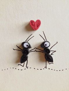 Love Card, Red Heart and Black Ants in Love, Quilling Art, valentines day card Quilled Paper Art, Quilling Paper Craft, Paper Crafts, Paper Glue, Quiling Paper, Arte Quilling, Quilling Patterns, Quilling Designs, Quilling Ideas