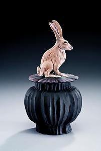 Nancy Y Adams Clay Artist Jack Rabbit Box