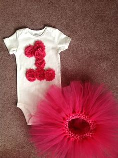 GIRLS Pink Shabby Rose Personalized 1st First or 2nd Birthday Flower/One Baby Onesie Toddler Shirt 1st First or second Party Outfit / Tutu (pretty sure I could make this myself!)