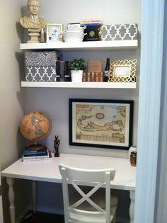 Closet office! Paint: Glidden Smooth Stone Shelves/Desk: IKEA