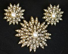 Signed HAR Faux Pearl and Rhinestone Flower Brooch and Earring Set