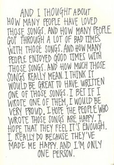 Perks Of Being A Wallflower Quote by Stephen Chbosky  HOW I FEEL ABOUT MUSIC ♥ ♥ ♥