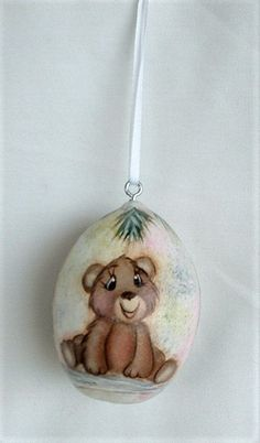 Bear Cub Gourd Christmas Tree Ornament - Hand Painted Baby Animal Gourds