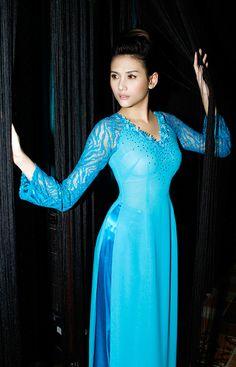 Ao dai Lotus - Ao dai hoa sen Turquoise v-neck Vietnamese