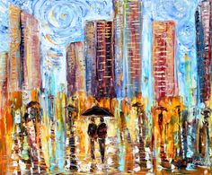 Original oil painting Abstract City Rain  by Karensfineart