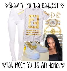 """""""Lil Mama Badd """" by loyalnene ❤ liked on Polyvore featuring Betsey Johnson, Forever 21, gold and white"""